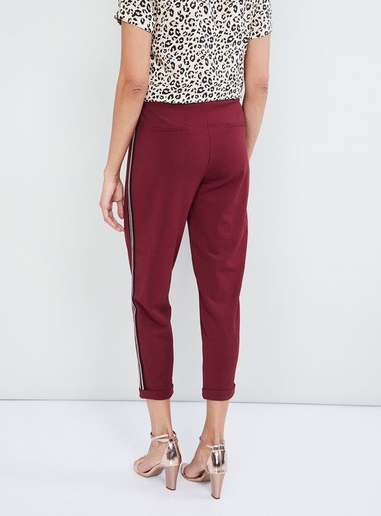 MAX Solid Cropped Upturned Hem Cropped Pants