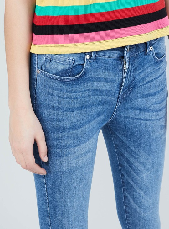 MAX Stonewashed Whiskered Skinny Fit Jeans