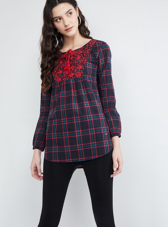 MAX Checked Tunic with Floral Embroidery