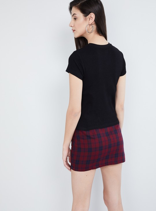 MAX Solid Cap Sleeves Top With Sash Tie-Up