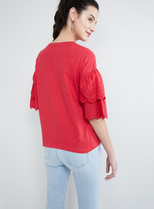 MAX Solid Schiffli Bell Sleeves Top