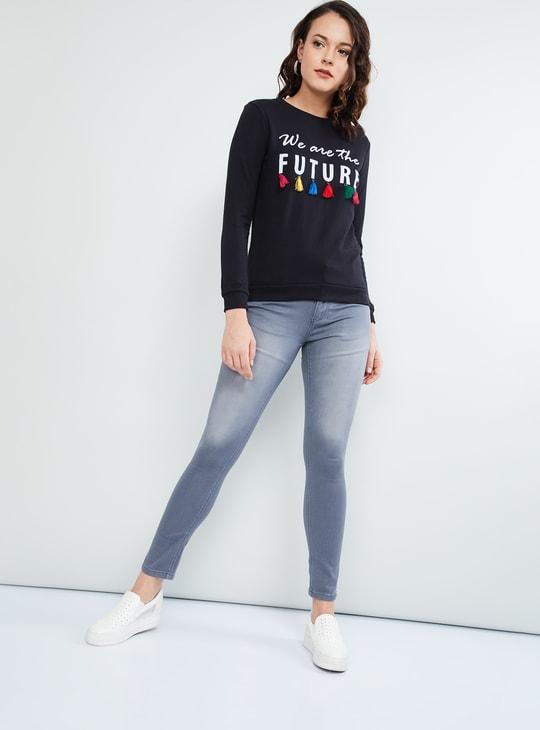 MAX Typographic Print Tassel Detail Sweatshirt