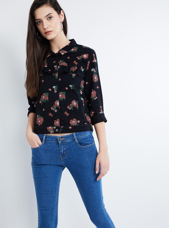 MAX Printed Ruffle Detailed Button-Up Jacket