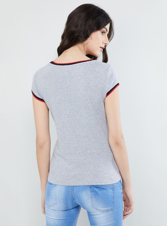 MAX Applique Detail Cap Sleeves T-shirt