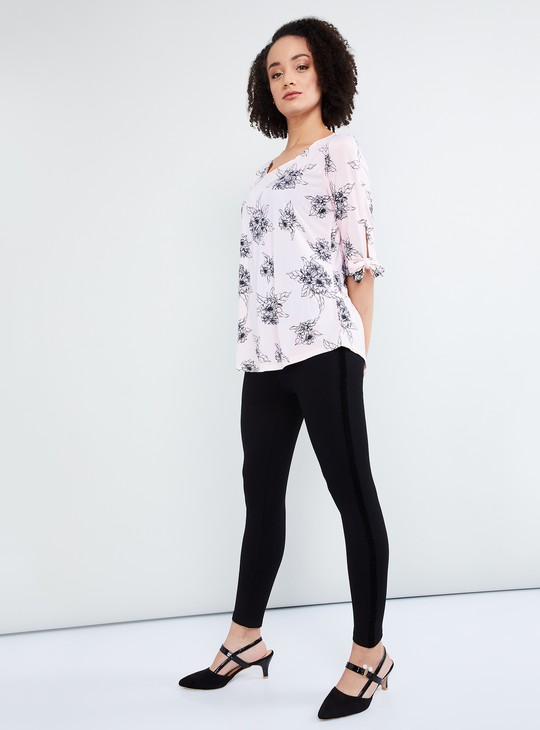 MAX Printed Tie-up Sleeve Top