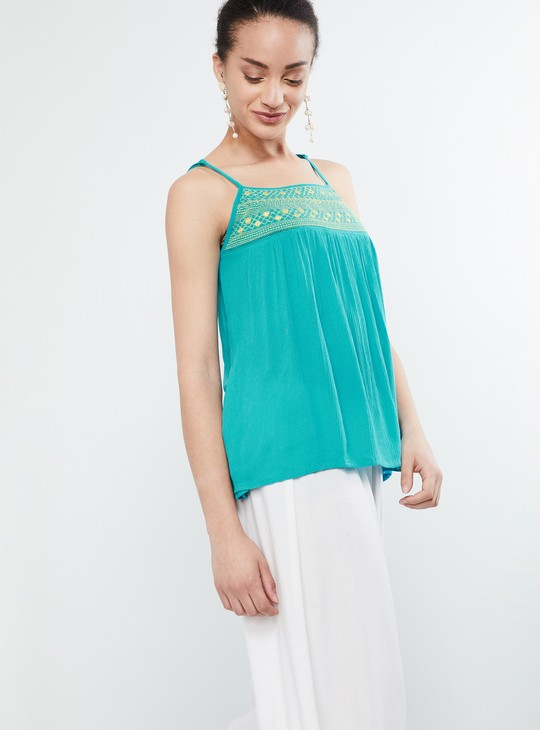 MAX Embroidered Mirror-Work Ladder-Lace Strappy Top