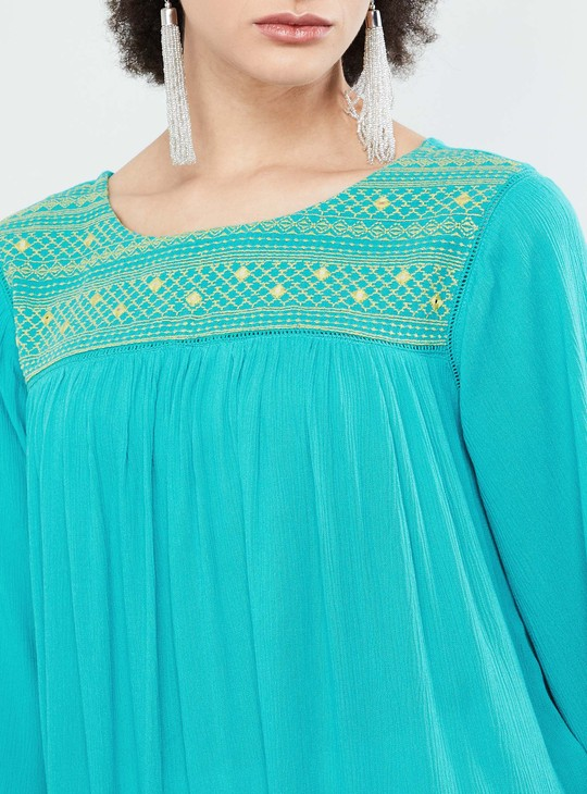 MAX Embroidered Flared Sleeve Top
