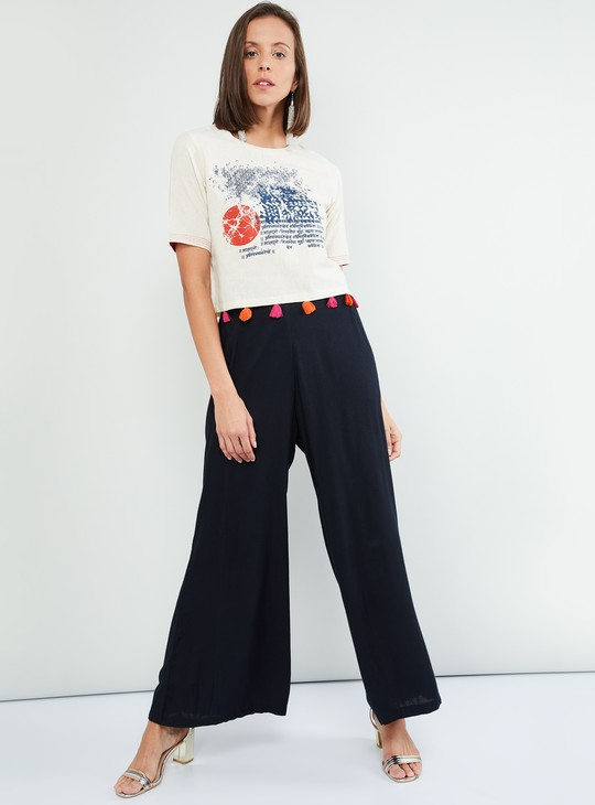 MAX Tasselled Trim Printed Top