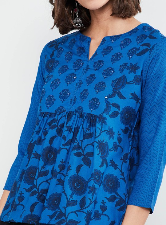 MAX Floral Print Three-quarter Sleeves Top