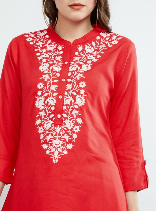 MAX Embroidered Tunic with Three-Quarter Sleeves