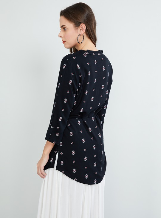 MAX Printed Tasselled Rolled-Up Sleeves Tunic