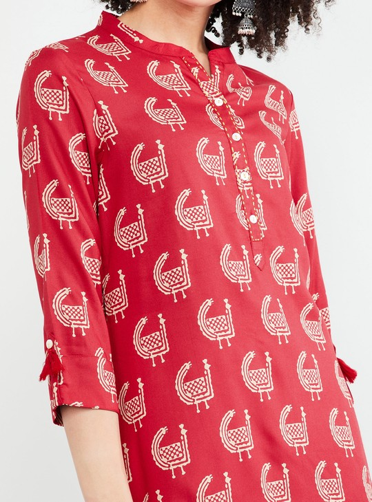 MAX Tasselled Roll-Up Sleeves Printed Tunic