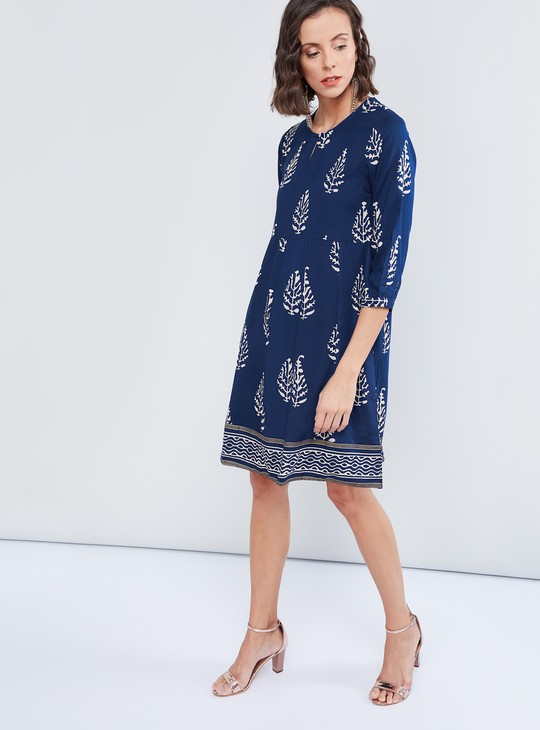 MAX Printed Three-Quarter Sleeves Dress