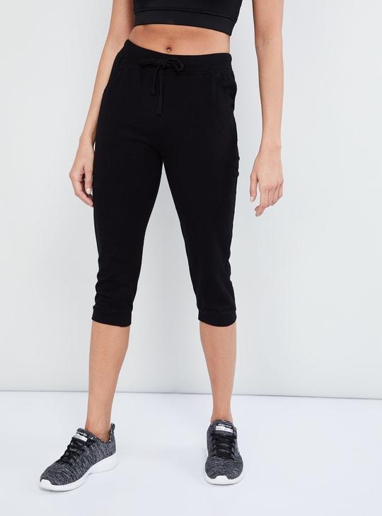 MAX Solid Drawstring Detail Capri Pants