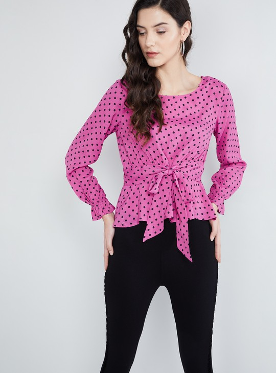 MAX Polka Dots Top with Tie-Up Detailing