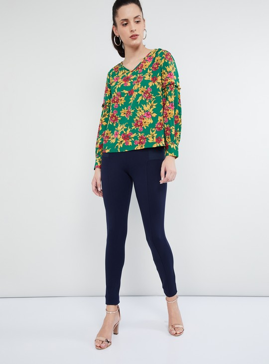 MAX Floral Print V-neck Gathered Sleeves Top