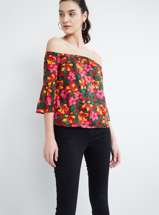 MAX Floral Printed Bell Sleeves Bardot Top