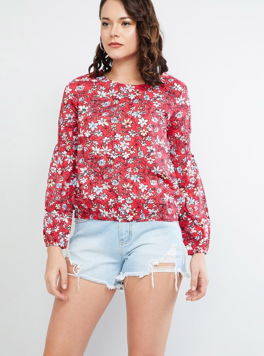 MAX Floral Print Back Cut-Out Full Sleeves Blouse