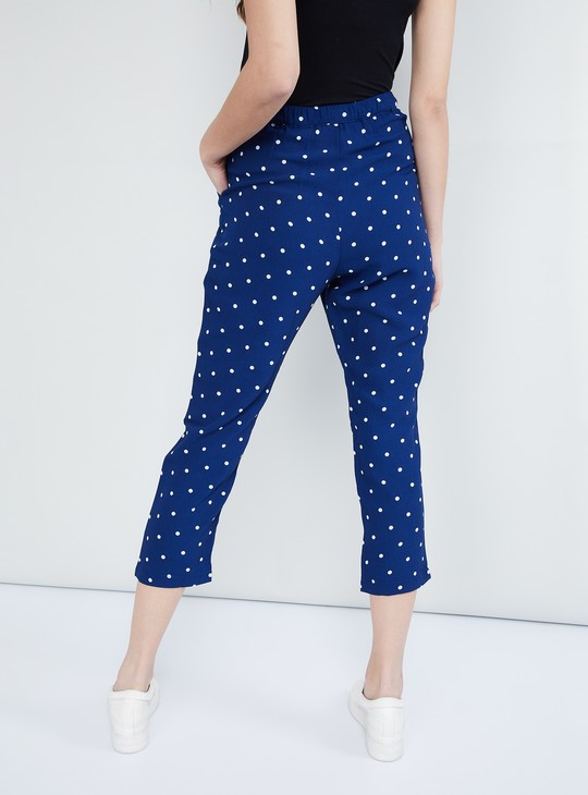 MAX Polka Dots Pleated-Front Three-Fourth Trousers