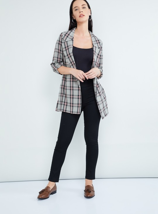 MAX Checked Rolled-Up Sleeves Jacket