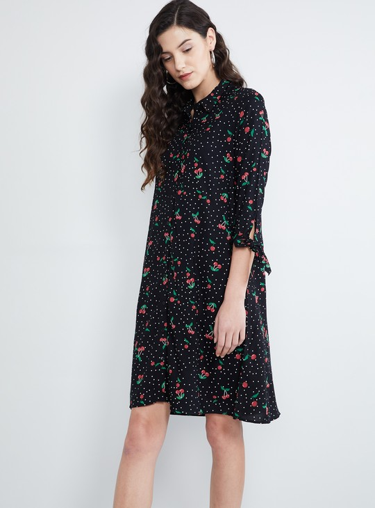 MAX Cherry Print Shirt Style Dress