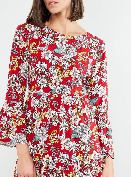 MAX Blossom Print Bell Sleeves Dress