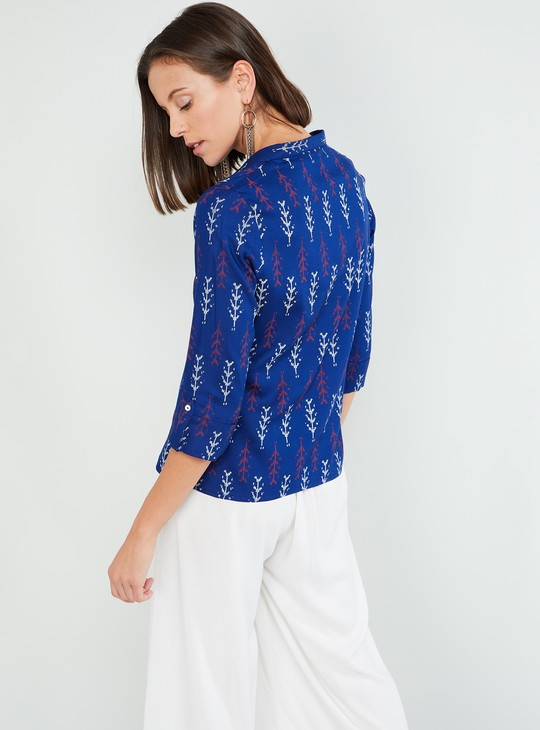 MAX Button Placket Printed Top