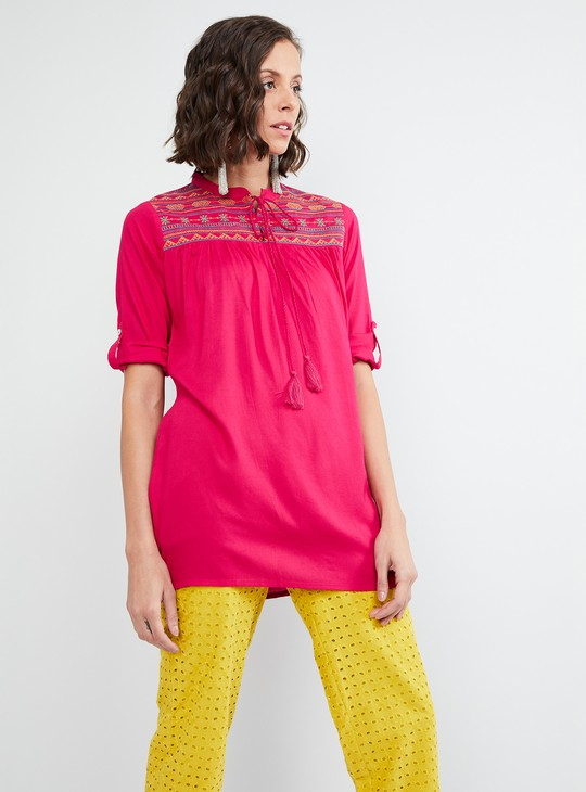 MAX Embroidered Tie-Up Tasselled Tunic