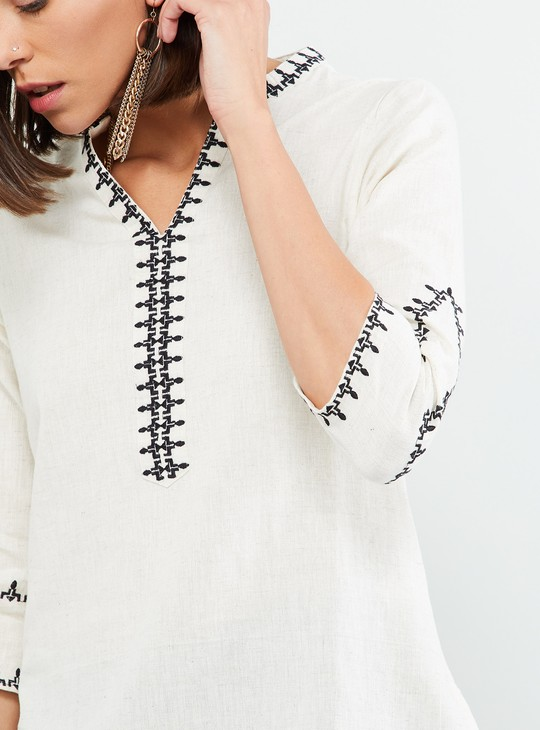 MAX Open Collar Embroidered Tunic