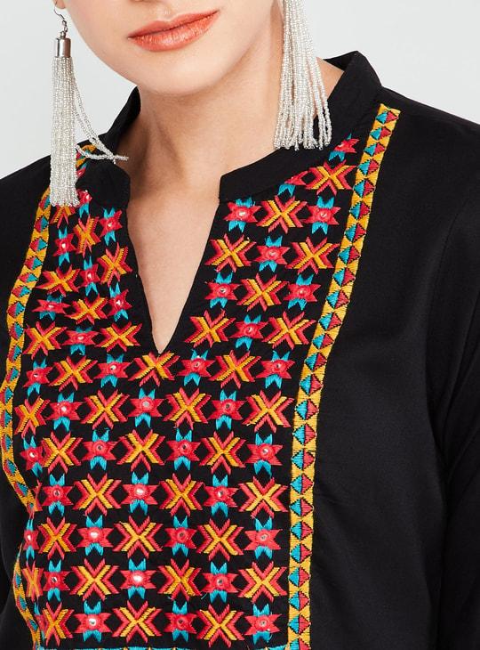 MAX Embroidered Band Collar Straight Cut Kurta