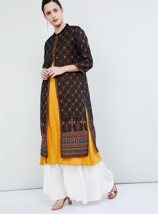 MAX Printed Three-quarter Sleeves Centre-Slit Kurta