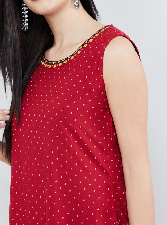 MAX Printed Sleeveless Asymmetrical Kurta