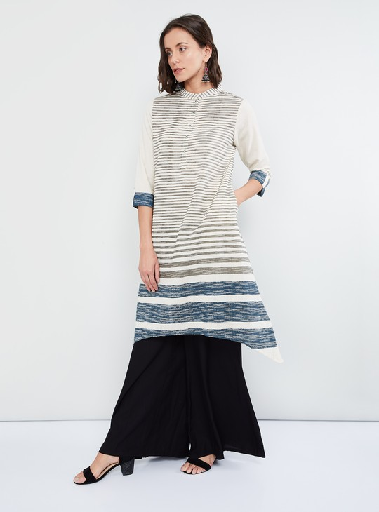 MAX Dipped Hem Striped Flared Kurta