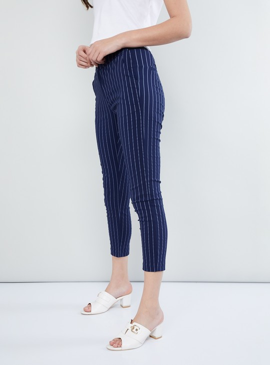 MAX Printed Skinny Fit Cropped Trousers