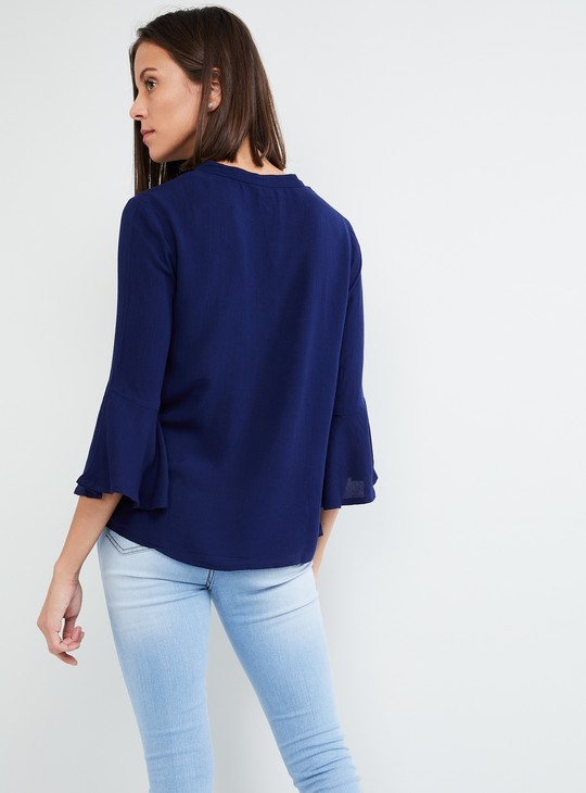 MAX Tie-Up Neck Bell Sleeve Top