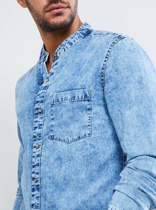 MAX Solid Mandarin Collar Denim Shirt