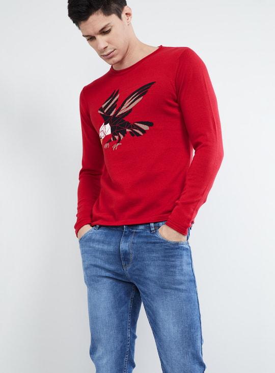 MAX Deer Print Crew Neck Sweatshirt