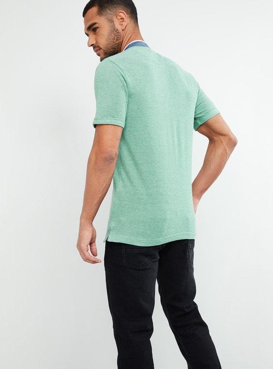 MAX Mandarin Collar Solid T-shirt