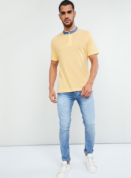 MAX Mandarin Collar Solid T-shirt