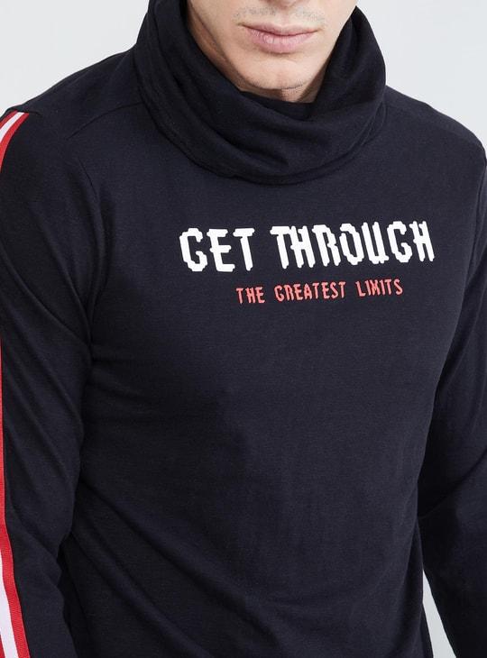 MAX Typographic Print Cowl Neck T-shirt