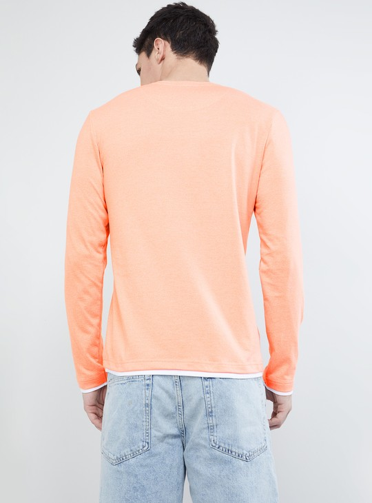 MAX Solid Full Sleeves Henley T-shirt