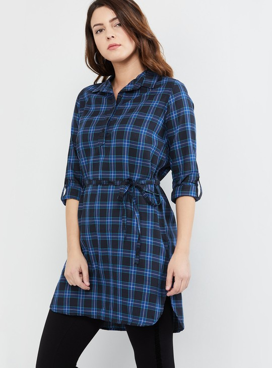 MAX Checked Rolled-Up Sleeves Tunic