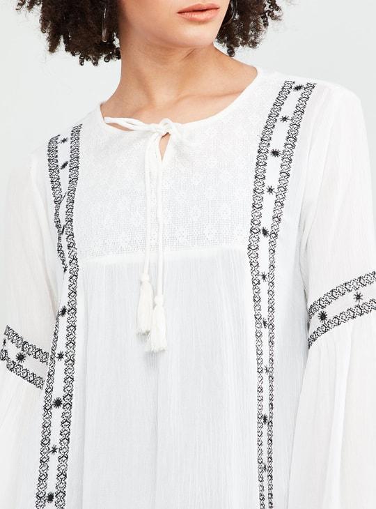 MAX Cross Stitch Detail Tassel-Tie Top