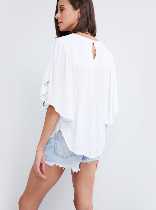 MAX Embroidered Gathered Top