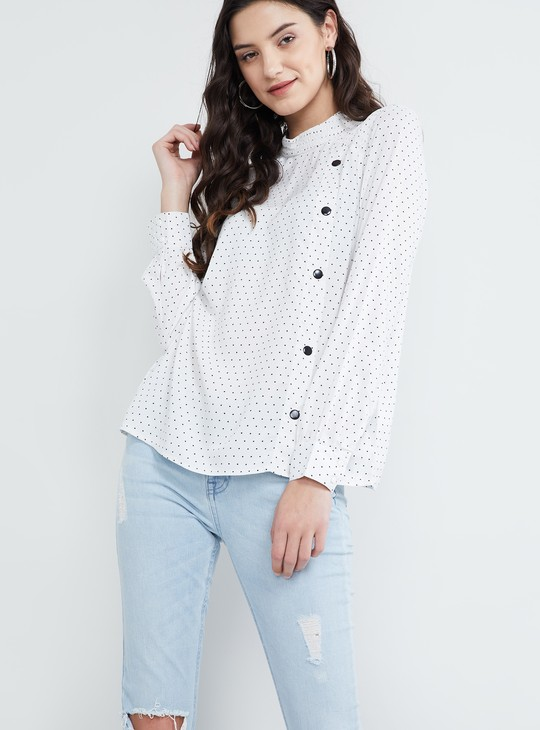 MAX Polka Dots Button Detailing Blouse