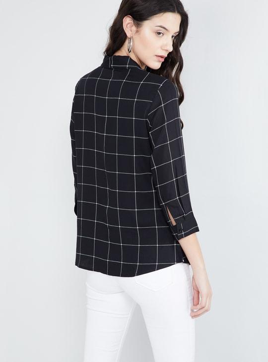 MAX Checked Sash Neck Shirt Style Top