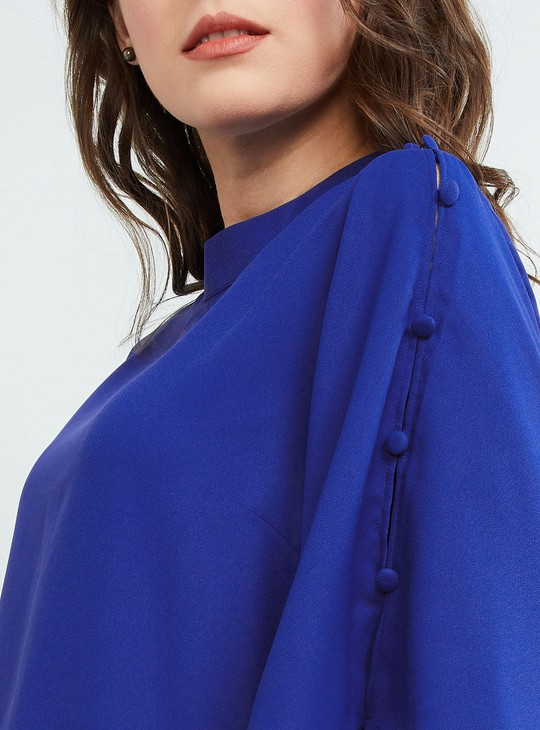 MAX Solid Buttoned Sleeve Blouse