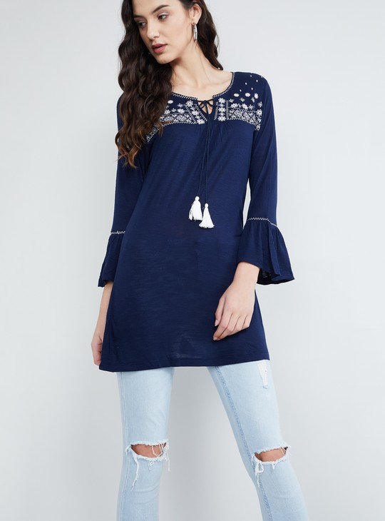 MAX Floral Embroidered Bell Sleeves Tunic