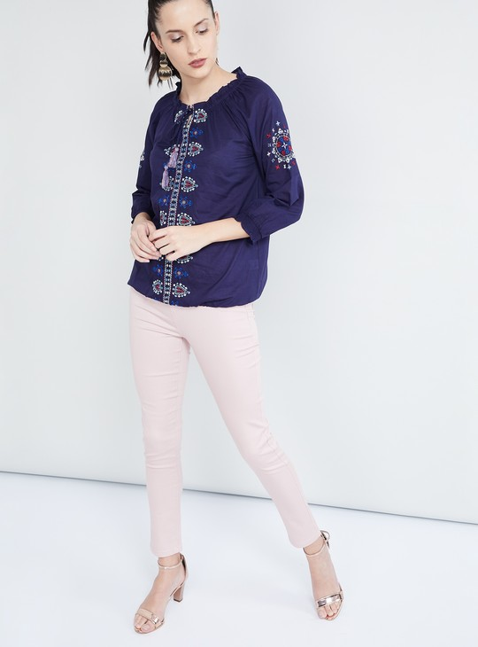 MAX Embroidered Three-Quarter Sleeves Top