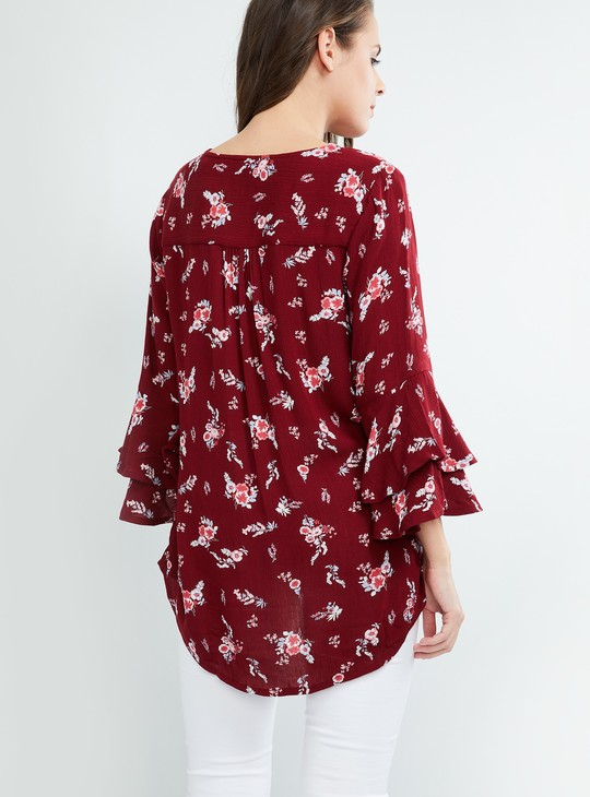 MAX Floral Print Bell Sleeves Top